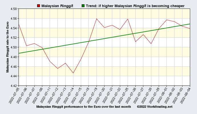 Malaysian Ringgit graphical overview  over the last month